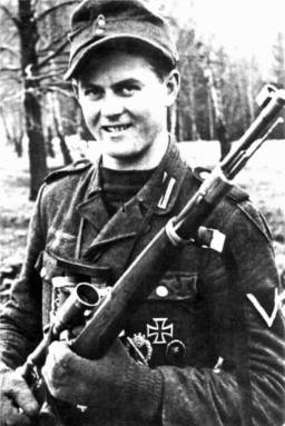 The German Sniper Matthäus Hetzenauer with his Kar98k, with a riflescope with six times magnification. From July 1944 to May 1945, he shot 345 Soviet Soldiers. (confirmed kills)