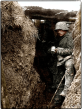 This grainy photo of a German trench is dated around Autumn '16 - Spring '17.