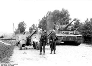 Tiger of Großdeutschland and Captured Soviet Anti-Tank Guns, August 1944.