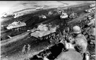 Tigers of the schwere Panzer-Abteilung 507 in an assembly area preparing for an attack to releive German troops trapped in Tarnopol.in the relief of Tarnopol in April of 1944.