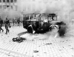 One of the victims of a V2 that struck Teniers Square, Antwerp, Belgium on 27 November 1944. A British military convoy was passing through the square at the time; 126 (including 26 Allied soldiers) were killed.