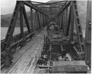 Combat Engineers repairing the Ludendorff Bridge on 17 March 1945 four hours before it collapsed.