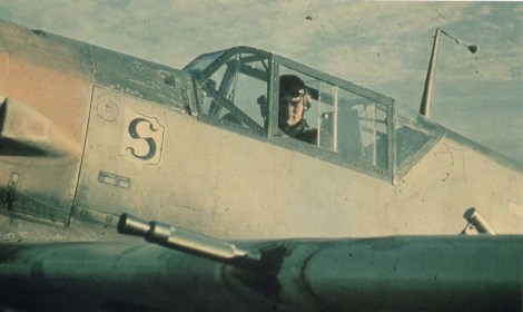 "Walter Horten of III./JG 26 in the cockpit of his Messerschmitt Bf 109 E ""White 7""."