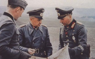 Walter Model with Generalmajor Friedrich-Wilhelm von Mellenthin (left) and General der Panzertruppe Walther Nehring.