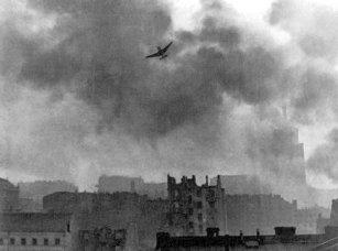 German Stuka Ju-87 bombing Warsaw's Old Town.
