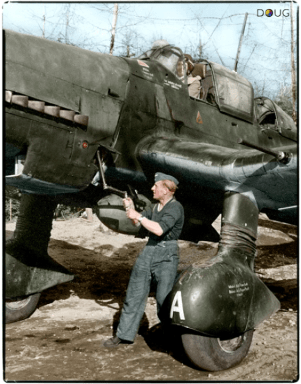 Junkers Stuka Ju 87 crank started in Immola, Finland.