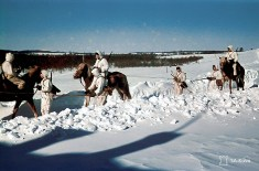 Finnish Hämeen Ratsurykmentti (Hämeen Cavalry Regiment) in a winter patrol through the snow-covered trail in Velikaja Niva, Kareliya (Soviet Union), 15 March 1942.