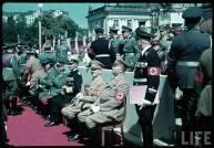 Reichs Veterans Day at Kassel, Germany, 4 June 1939. From right to left : ?, Gauleiter Karl Weinrich, Adolf Hitler, Erich Raeder, Walther von Brauchitsch, Wilhelm Keitel, Heinrich Himmler, Franz Ritter von Epp, and Martin Bormann.