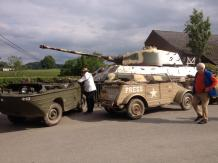Kubelwagen and King Tiger 213 during an event at December 44 Historical Museum - La Gleize, Belgium.