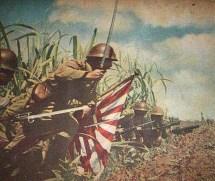 Lieutenant Colonel Hatsuo Tsukamoto leading his infantryman to assault Kokoda village and airfield, New Guinea July 1942.