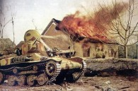 Type 97 Te-Ke tankette and a Japanese soldier next to a burning house, China 1941.