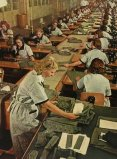 """Wehrmacht uniform factory - Busy shop floor .Photographs by Dr. Paul Wolff, used in the book """"Uniformen und Soldaten"""" by Curt Ehrlich - published in 1942. Featured is the uniform factory of Peek & Cloppenburg."""