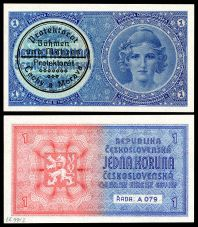 First issue of currency in Protectorate of Bohemia and Moravia (an unissued 1938 Czech note with a validation stamp for use in 1939).
