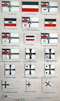Flags used by the Imperial German Navy.