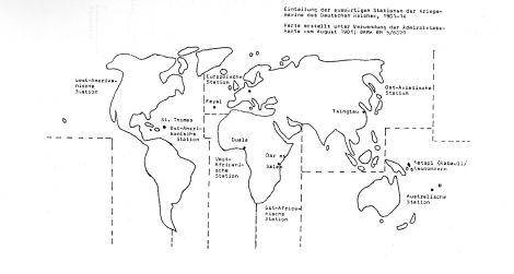 Karte der Auslandsstationen der Kaiserlichen Marine 1901-1914.