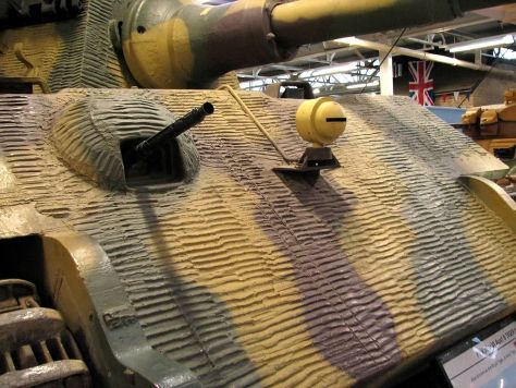 Close view of Zimmerit on the glacis of a Tiger II.