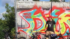 The Platz des November 1989, where thousands of people breached the Berlin Wall 25 years ago, is among destinations on a cycle tour of the Cold War frontier in Berlin.