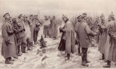 "From The Illustrated London News of January 9, 1915: ""British and German Soldiers Arm-in-Arm Exchanging Headgear: A Christmas Truce between Opposing Trenches"""
