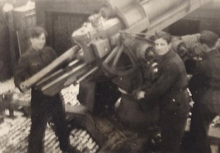 Flakhelfer anti-aircraft gun crew in 1944.