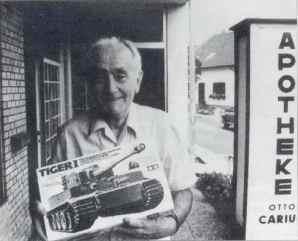 Otto Carius outside his pharmacy.