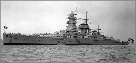 Hans Langsdorff`s battleship Admiral Graf Spee.