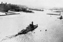 The battleship Admiral Graf Spee in the port of Montevideo.