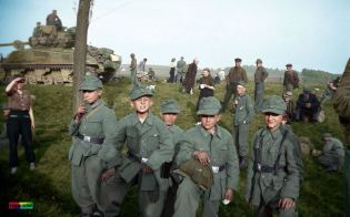These young German soldiers, likely taken directly from the rank of a local Hitler Youth group, were captured somewhere outside of Leipzig Germany in May of 1945.