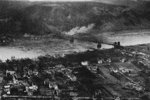 Aerial view of Ludendorff Bridge March,1945.