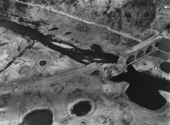 Aerial view of Arnsberg destroyed viaduct Hustener Strasse, March 1945.