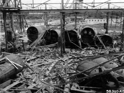 Wreckage of pre-fabricated u-boat sections in the Submarine Yards at Hamburg 1945.