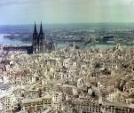 Here, an aerial shot of Cologne taken in 1945.