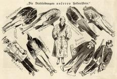 1867 cartoon making fun of Bismarck's different roles, from general to minister of foreign affairs, federal chancellor, hunter, diplomat and president of the Zollverein parliament.