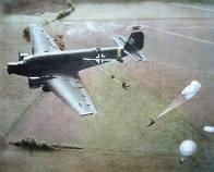 Fallschirmjäger jumping from the Ju-52.