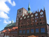 Stralsund, one of several Hanseatic cities built in typical Brick Gothic style.