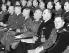 German military and civilian leaders in Norway during World War II , as well as Norwegian ministers and county leaders , during memorials in the Colosseum cinema on 12 November 1944. Front left: Security Officer Fehlis , Hermann Title, Prime Minister Quisling , National Commissioner Terboven , General von Falkenhorst , Admiral Ciliax and propaganda floor GW Müller .
