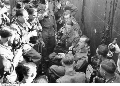 Kretschmer with the crew of U-99 celebrating his Knight's Cross award in 1940.
