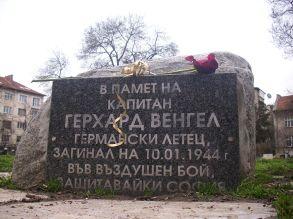 Hauptmann Gerhard Wengel Gruppenkommandeur of I./JG 5 Eismeer memorial slab in Sofia.