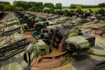 Decommissioned German-made Marder fighting vehicles are seen in the compound of the Koch Battle Tank Dismantling firm.