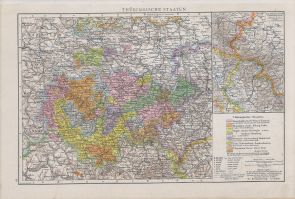 Map of Thuringian States 1890.
