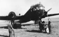 A He 177 during refueling and engine-run up, 1943. Note the four-bladed propeller. The He 177 is painted in a night camouflage scheme.