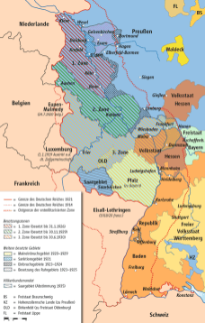 Occupation of the Rhineland after the War, the dotted line indicates the extent of the demilitarized zone.