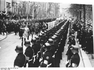 The Leibstandarte SS Adolf Hitler parades in Berlin, 1938.