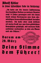 Propaganda leaflet dropped from Hindenburg during the Deutschlandfahrt, quoting Adolf Hitler's March 7th Rhineland speech in the Reichstag.