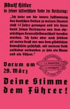 Propaganda leaflet dropped from Hindenburg during the Deutschlandfahrt, quoting Adolf Hitler's March 7th Rhineland speech in the Reichstag.