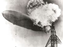 Hindenburg on fire.