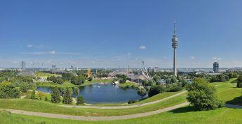 Olympiasee in Olympiapark, Munich.