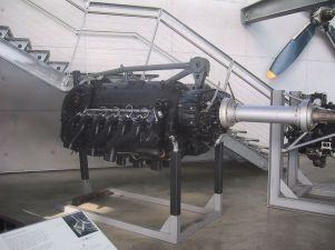 "A restored DB 610 ""power system"" engine, comprising a pair of DB 605 inverted V12s - the top of its central space-frame motor-mount structure can be seen."