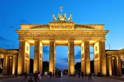 Brandenburg Gate in Berlin, national symbol of today's Germany and its reunification in 1990.