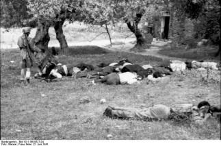Execution of rebellious Cretan Greek male civilians in Kondomari, Crete by Fallschirmjäger paratroopers in 1941.