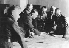 Hitler with generals Friedrich Paulus and Fedor von Bock in Poltawa, German-occupied Ukraine, June 1942.